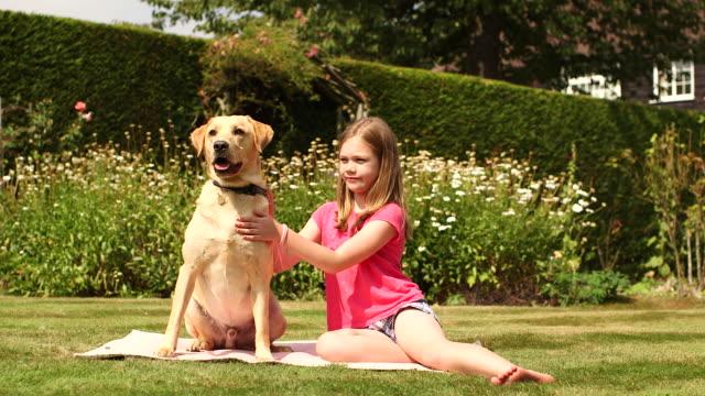 girl in garden playing with dog - nur mädchen stock-videos und b-roll-filmmaterial