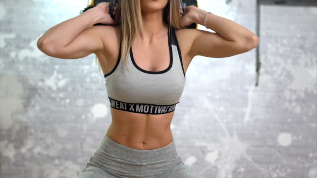 girl in gym exercises with weights - step aerobics stock videos & royalty-free footage