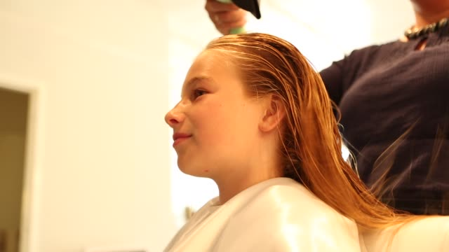 girl in hair salon - drying stock videos and b-roll footage