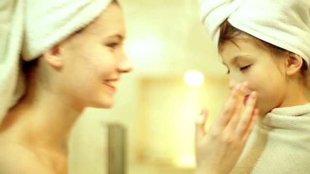 girl in home spa - towel stock videos & royalty-free footage