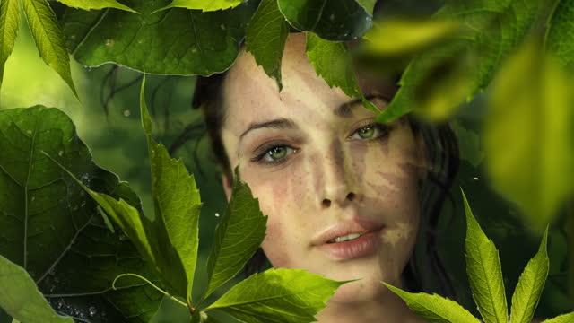 vídeos de stock, filmes e b-roll de garota em folhas - olhos verdes