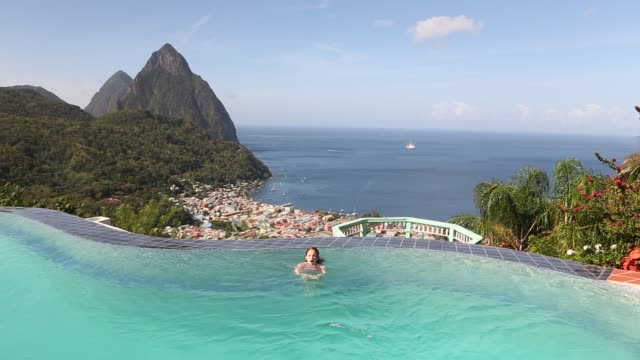 girl in pool - st. lucia stock videos & royalty-free footage