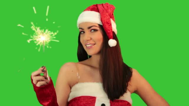 girl in red santa hat - santa hat stock videos & royalty-free footage