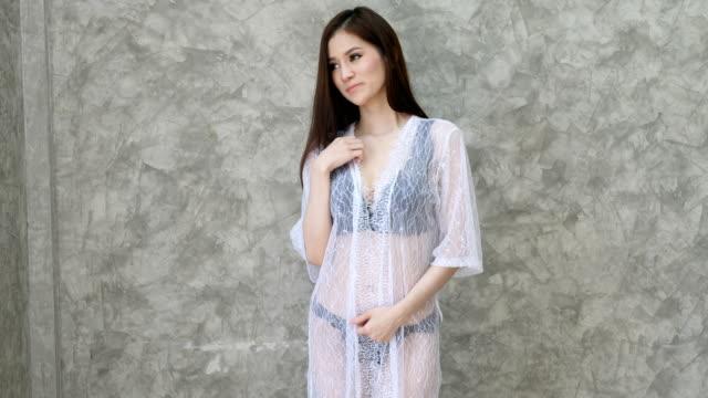girl in sexy nightwear - nightwear stock videos & royalty-free footage