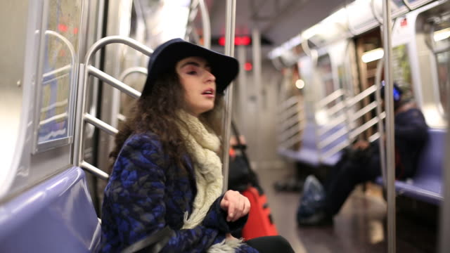 girl in subway - seat stock videos & royalty-free footage