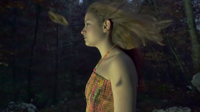 girl in the woods with magical atmosphere - mid length hair stock videos & royalty-free footage