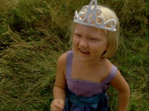 MS Girl in tiara throwing tantrum to camera/ Vinalhaven, Maine