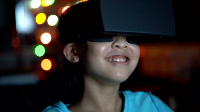 cu girl in virtual reality glasses. - only girls stock videos and b-roll footage