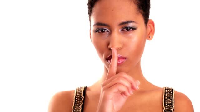 vídeos y material grabado en eventos de stock de chica está mostrando una señal de silencio - forbidden
