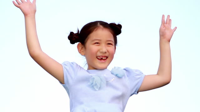 ms s/l girl jumping on trampauline / paju, gyeonggido, south korea - saltare video stock e b–roll