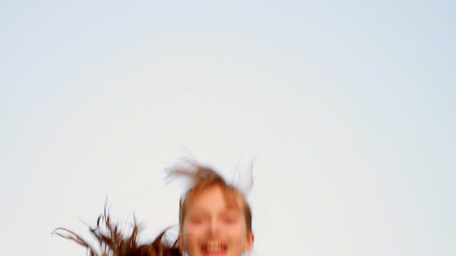 stockvideo's en b-roll-footage met ms s/l girl jumping on trampauline / paju, gyeonggido, south korea - trampoline