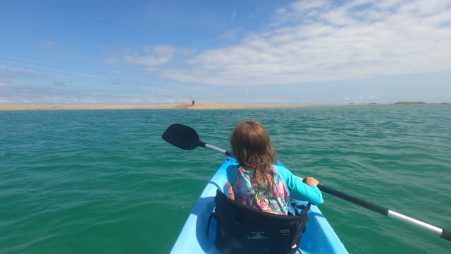 girl kayaking - channel islands england stock videos & royalty-free footage