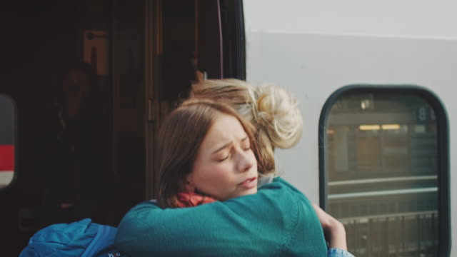 girl leaving with train - emotion stock videos & royalty-free footage