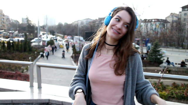 girl listening to music - brace stock videos and b-roll footage