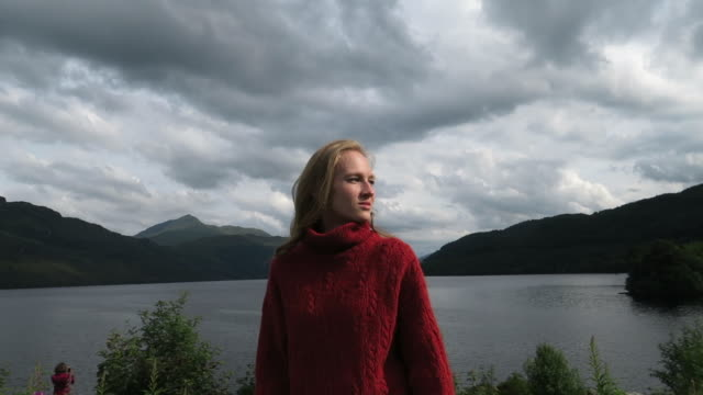 girl looking around in snowdonia nature reserve - turtleneck stock videos & royalty-free footage