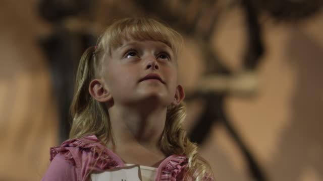cu tu girl (6-7) looking at dinosaur's skeleton in natural history museum, lehi, utah, usa - museum stock-videos und b-roll-filmmaterial