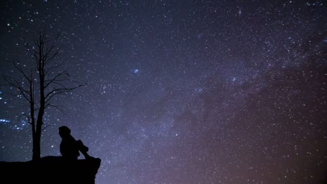girl looking at night sky with meteor - star space stock videos & royalty-free footage