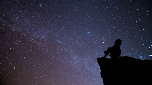 girl looking at night sky with meteor - looking stock videos & royalty-free footage