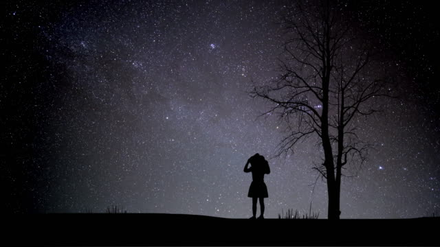 girl looking night stars time lapse with meteor shower - atmosphere filter stock videos and b-roll footage