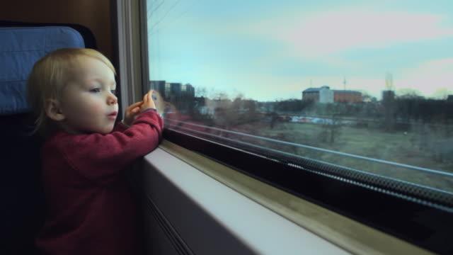 CU Girl (2-3) looking out of train window / Berlin, Germany