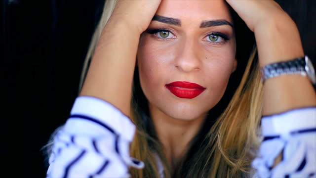 girl looking through her blue contact lens - wrist watch stock videos & royalty-free footage
