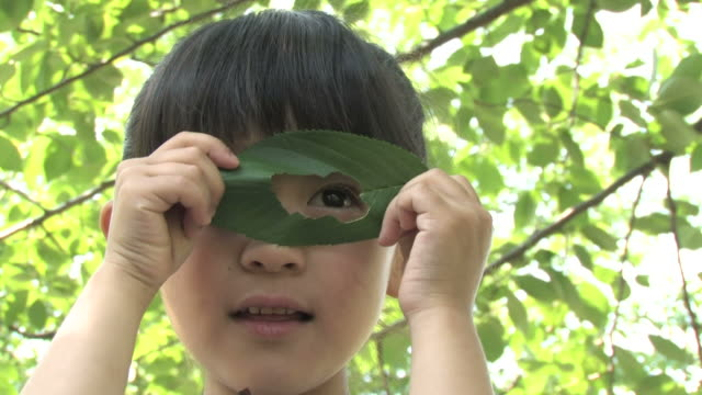 Girl looking through hole in leaf