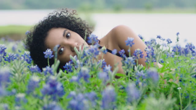 ms slo mo. girl lying in a field of flowers opens her eyes and stares at camera. - bra stock videos & royalty-free footage