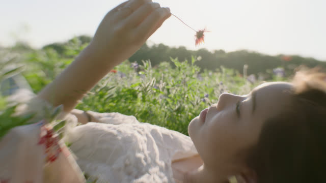 MS SLO MO. Girl lying in green field holds flower to nose and smells.