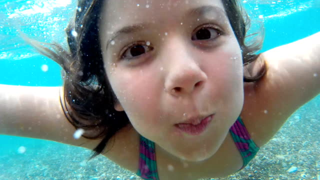 Girl making faces underwater