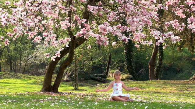 ws girl (8-9) meditating under magnolia tree, vrhnika, slovenia - vrhnika stock videos & royalty-free footage