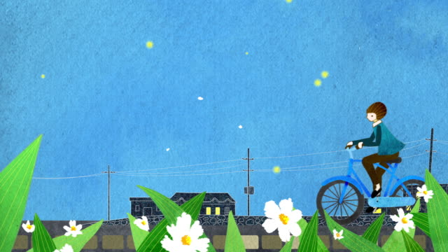 girl on a bicycle and blooming flower on a spring evening - animation moving image点の映像素材/bロール