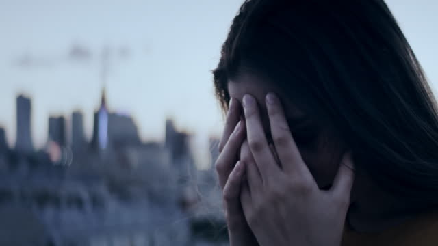 girl on a rooftop. depression - alternative lifestyle stock videos & royalty-free footage