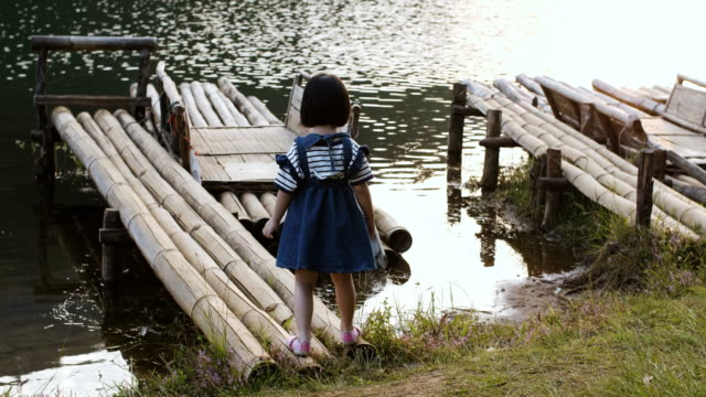 girl on bamboo raft - mae hong son province stock videos and b-roll footage