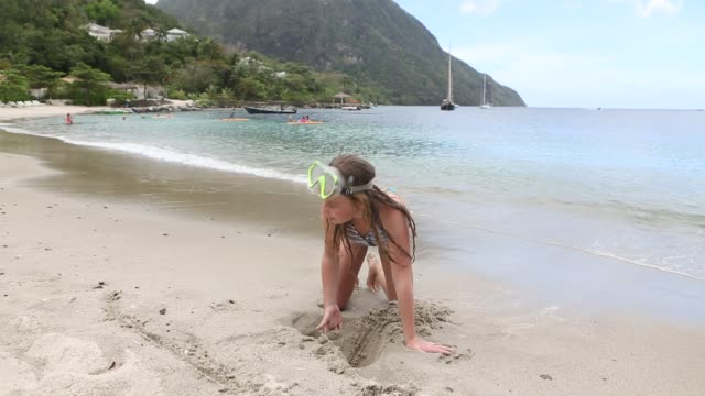 girl on beach - 10 11 years stock videos and b-roll footage
