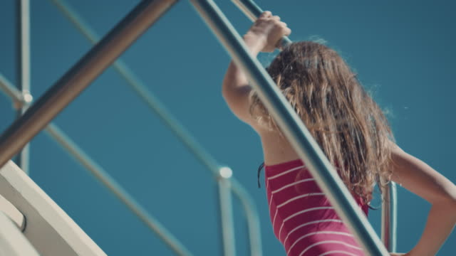 girl on diving board - courage stock videos & royalty-free footage