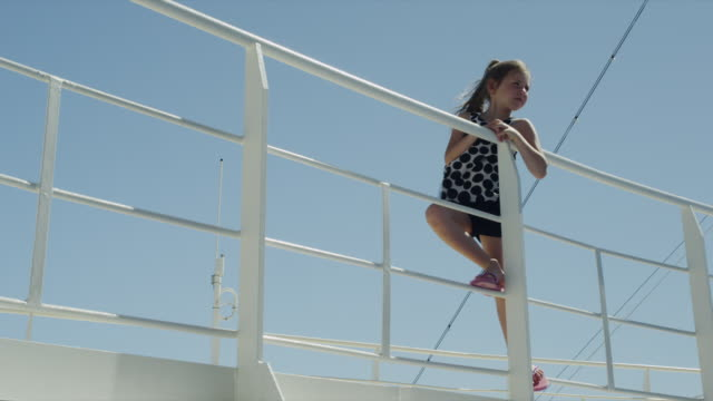SLO MO WS LA Girl (6-7) on ship deck / Caribbean