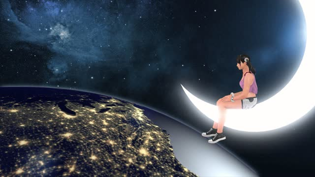 girl on the moon, fairy fantastic surreal landscape - dreamlike stock videos & royalty-free footage