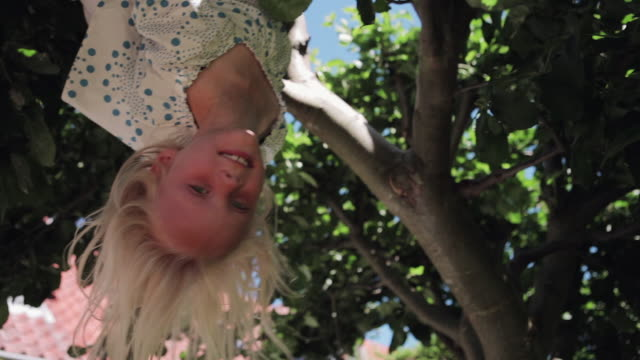 girl on tree - upside down stock videos and b-roll footage