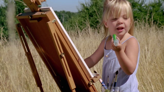 cu, girl (2-3) painting at easel in meadow, saint ferme, gironde, france - maglietta senza maniche video stock e b–roll