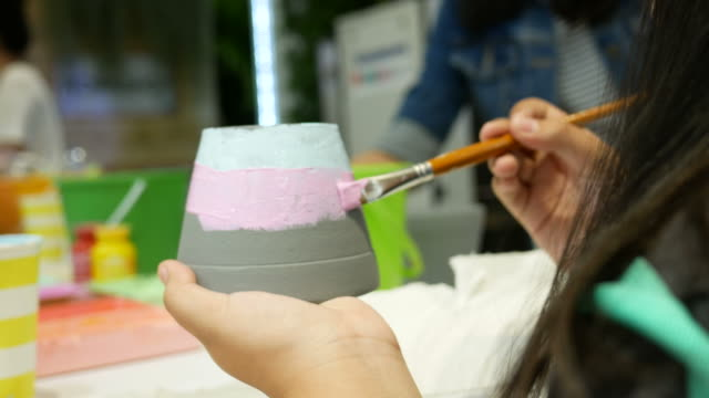 girl painting with brush - gouache stock videos & royalty-free footage