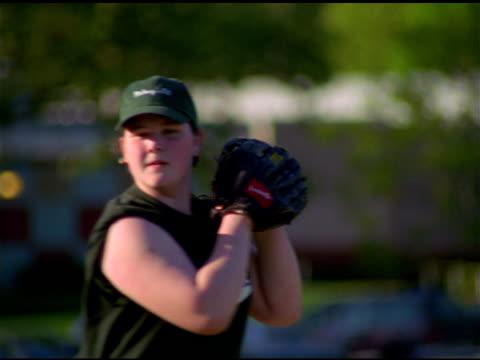 girl pitches baseball, pawtucket, rhode island - 野球用グローブ点の映像素材/bロール