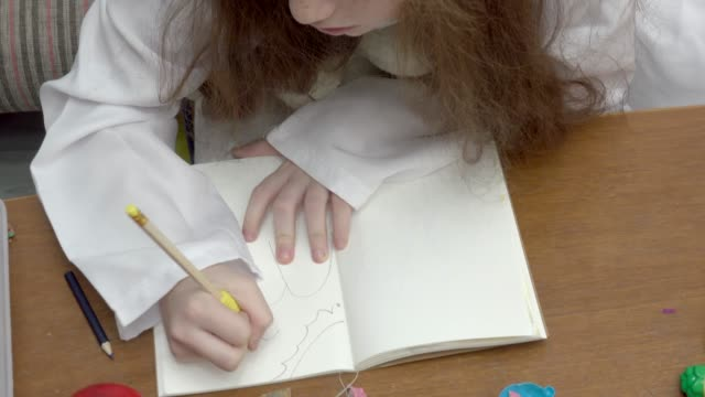 girl play drawing landscape - pencil drawing stock videos & royalty-free footage