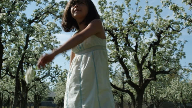 girl playing in an orchard - skipping along stock videos & royalty-free footage