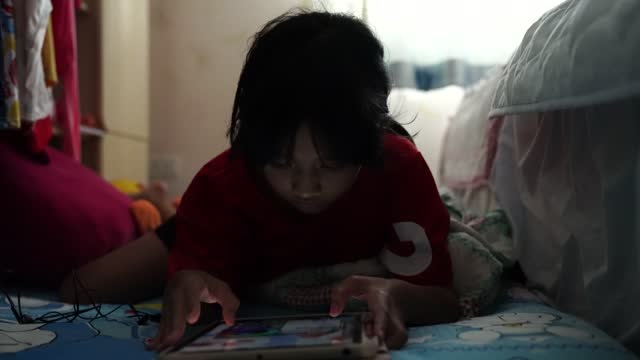 girl playing tablet - one baby girl only stock videos & royalty-free footage