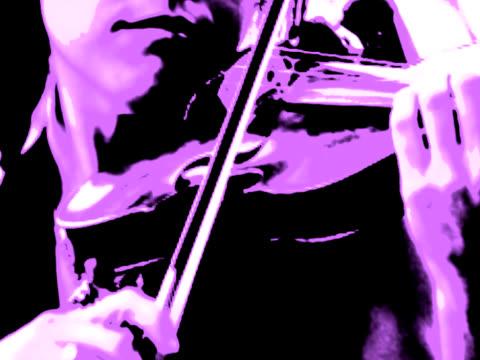 Mädchen spielt Violine im Freien in Lavendel