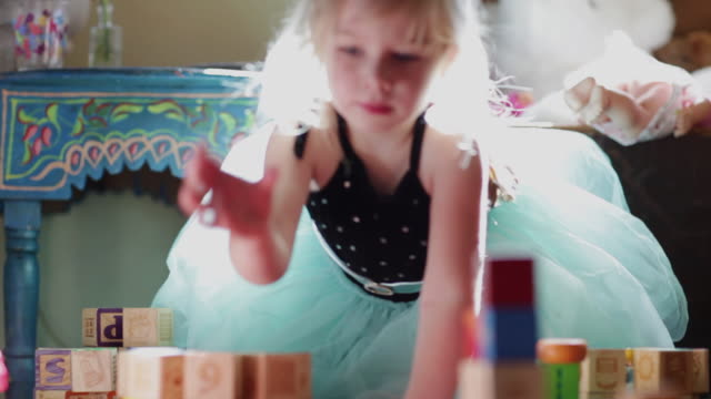ms pan girl playing with blocks / lamy, new mexico, usa - block shape stock videos & royalty-free footage