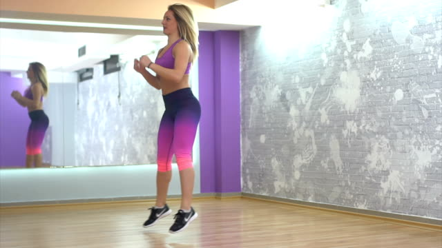 Girl practicing in gym