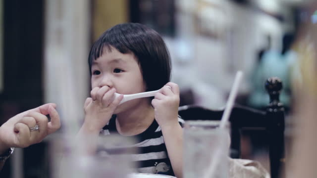 girl preparing to eat breakfast - one baby girl only stock videos & royalty-free footage