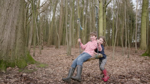 Girl pushes boy on rope swing