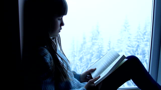 girl reading book at window - comfortable stock videos & royalty-free footage